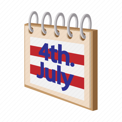 american, calendar, cartoon, date, independence, july, usa icon
