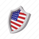 america, american, cartoon, flag, shield, star, usa icon
