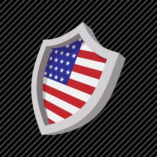 america, american, cartoon, flag, shield, star, usa icon