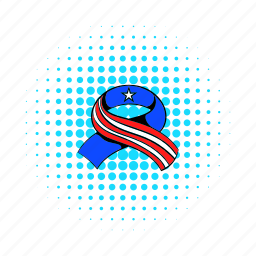 american, comics, independence, july, ribbon, star, usa icon