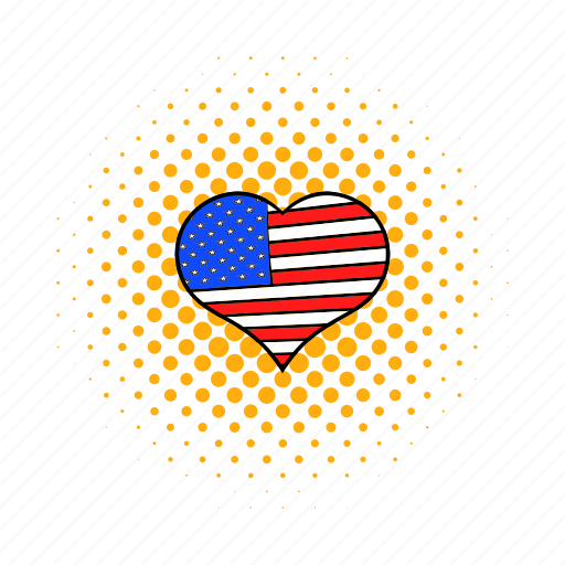 american, comics, heart, independence, july, love, usa icon