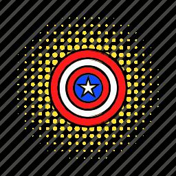 badge, comics, curcle, july, shield, sticker, usa icon