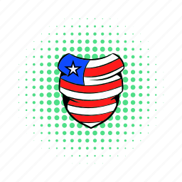 american, comics, flag, hat, neckerchief, red, usa icon