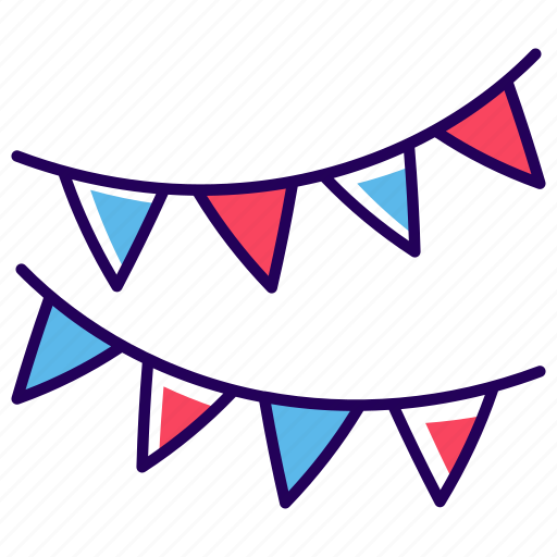 bunting, christmas banners, christmas decoration, garlands, party garlands flag, streamers icon