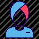 avatar, indian man, man, sikh, turban man icon