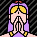 asian, avatar, indian, namaste, oriental, woman icon