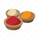 cartoon, color, food, india, pepper, powder, spice icon