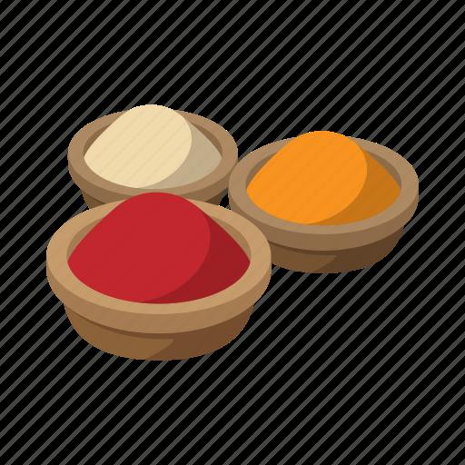 cartoon, color, food, india, pepper, powder, spice icon