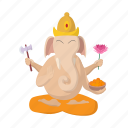 cartoon, ganesha, god, hinduism, india, indian, religion icon