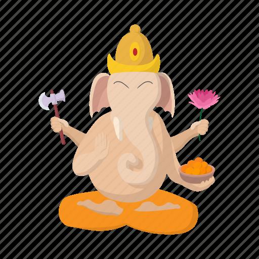 cartoon, ganesha, god, hinduism, india, indian, religion icon