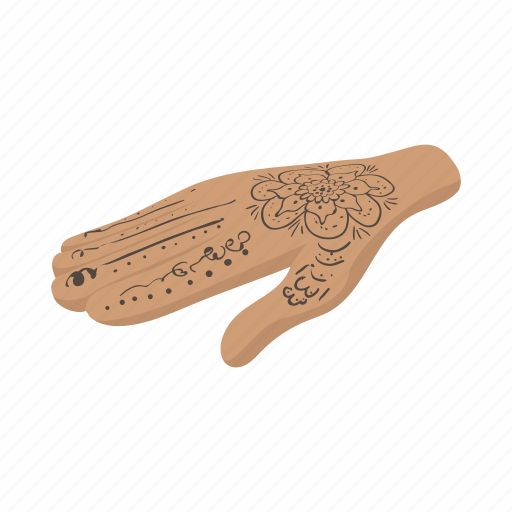 cartoon, decoration, design, hand, henna, india, tattoo icon