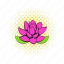 comics, floral, flower, lotus, nature, petal, plant icon