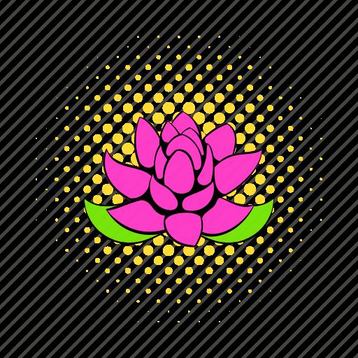 comics, floral, flower, lotus, nature, petal, plant icon