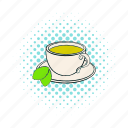 comics, drink, dry, herbal, india, mint, tea icon