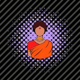 comics, dress, girl, indian, sari, traditional, woman icon