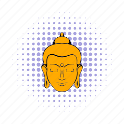 asia, buddha, comics, head, india, indian, meditation icon