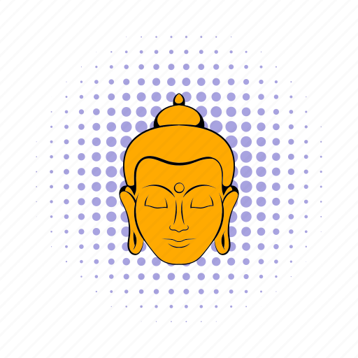 asia, buddha, comics, head, india, indian, meditation icon