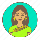 avatar, bindi, india, indian, lady, sari, woman icon