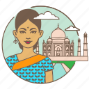 avatar, bindi, india, indian, sari, taj mahal, woman icon
