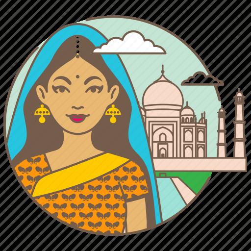avatar, bindi, india, indian, sari, taj mahal, woman icon