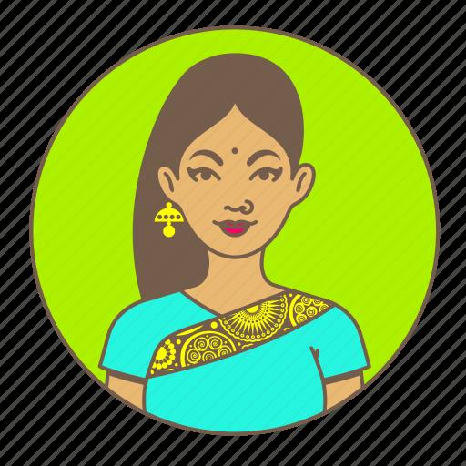 avatar, bindi, india, indian, lady, sari, woman icon