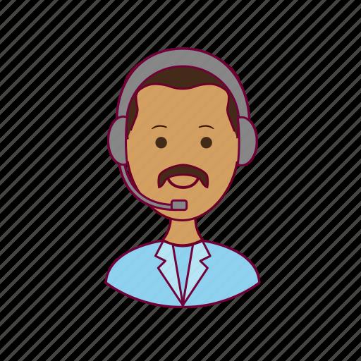 india, indian man, job, operador telemarketing, profession, professional, profissão, telemarketing icon