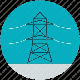 electric pylon, electricity pole, power mast, transmission pole icon