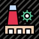 chimney, cogwheel, factory, industry, plant