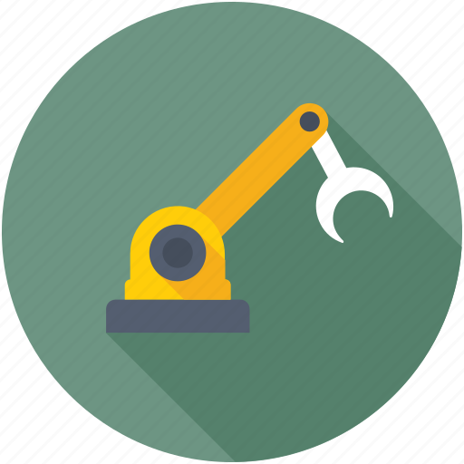 industrial robot, industrial robot arm, manufacturing robot, robot hand, robotic technology icon