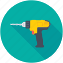 carpentry, construction, drill machine, drilling, power drill icon