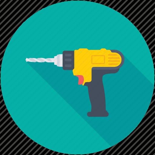 carpentry, construction, drill machine, drilling, power drill icon