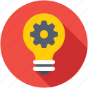 creative idea, gear, idea, innovation, light bulb icon