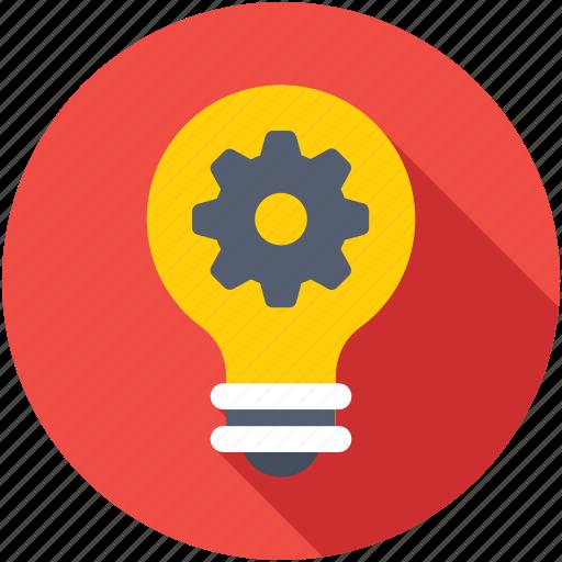 creative idea, gear, idea, innovation, light bulb icon