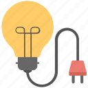 bulb, electricity, light, plug, power supply icon