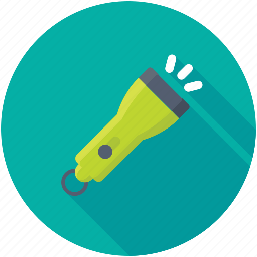 flashlight, light, pocket torch, searchlight, torch icon