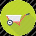 barrow, construction cart, hand truck, handbarrow, wheelbarrow icon