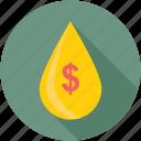 droplet, economy, money drop, passive income, petrol price icon