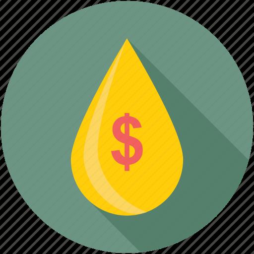 Petrol price, passive income, economy, money drop, droplet icon