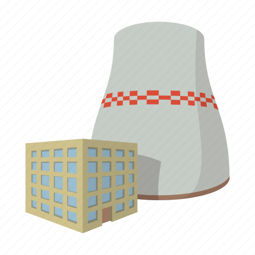 cartoon, chimney, energy, factory, industry, power, station icon
