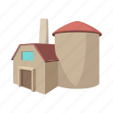 building, cartoon, factory, industrial, industry, plant, power icon