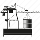 building, container, crane, harbor, loading, port icon