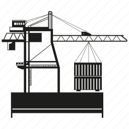 building, container, crane, harbor, loading, port icon