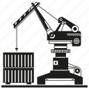 container, crane, harbor, port icon