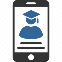 education, mobile, online, professor, smartphone, student, teacher icon