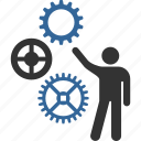 construction, engineering, gears, invention, mechanics, presentation, project icon