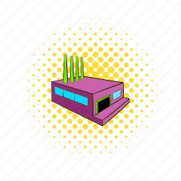 building, comics, factory, industrial, industry, plant, power icon