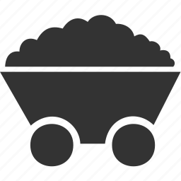 coal, industry, transport, trolley, truck, wheel, wheelbarrow icon