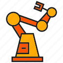 control, industry, machine, manufacturing, robot, robotic arm, tech icon