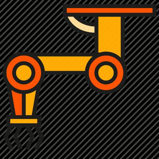 machine, manufacturing, mechanic, production, robot, robot hand, robotic arm icon