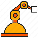 auto, industry, machine, manufacturing, mechanic, robot, robotic arm icon